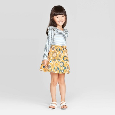 Toddler Girls' Long Sleeve A Line Dress   Cat & Jack White/Blue/Yellow by Line Dress