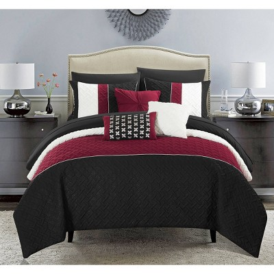 King 10pc Arza Bed In Bag Comforter Set Black - Chic Home Design