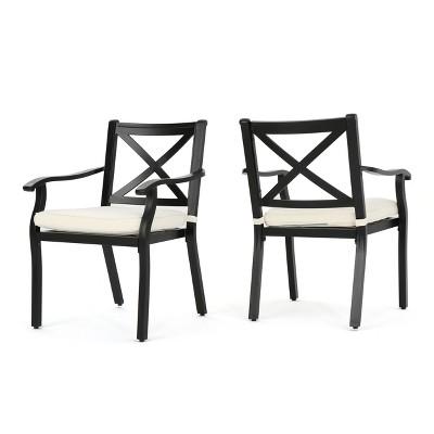Exuma 2pk Cast Aluminum Dining Chairs - Black - Christopher Knight Home