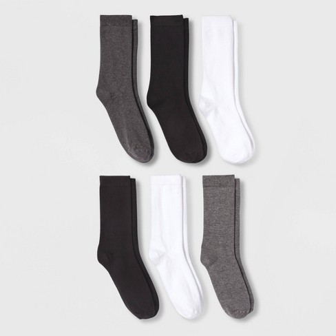 Women's 6pk Crew Socks - A New Day™ Black One Size - image 1 of 1