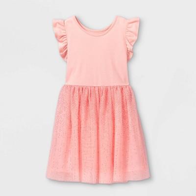 Girls' Shimmer Short Sleeve Tulle Dress - Cat & Jack™ Powder Pink