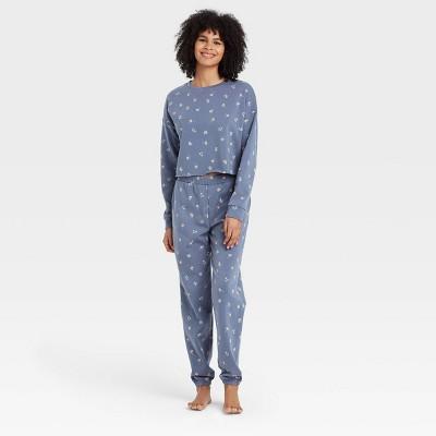 Women's Floral Print Fleece Lounge Sweatshirt - Colsie™ Blue
