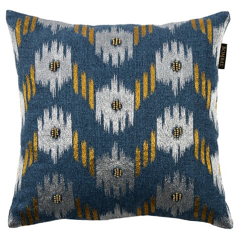 "Blue Ikat Chevron Square Throw Pillow (18""x18"") - Bombay® - image 1 of 3"