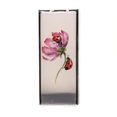 """Home Decor 5.75"""" Ladybug On Flower Candle Unscented Handmade Flat Painted  -  Flame Candles"""