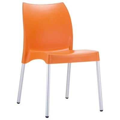 Vita Resin Outdoor Patio Dining Chair in Orange - Set of 2 - Compamia