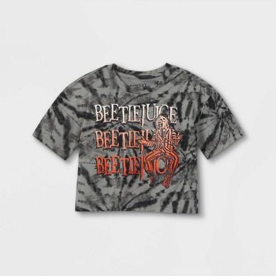 Girls' Beetlejuice Tie-Dye Short Sleeve Cropped Graphic T-Shirt - Black