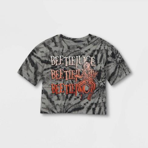 Girls' Beetlejuice Tie-Dye Short Sleeve Cropped Graphic T-Shirt - Black - image 1 of 2