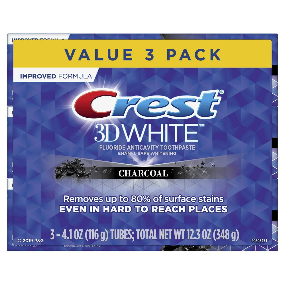 Crest 3d White Charcoal Whitening Toothpaste Mint 4 1oz 3pk