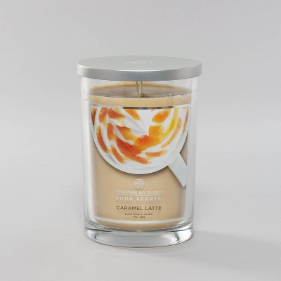19oz Glass Jar 2-Wick Candle Caramel Latte - Home Scents By Chesapeake Bay Candles