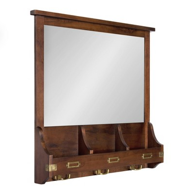 "24"" x 24"" Stallard Wood Wall Mirror with Hooks Walnut Brown - Kate and Laurel"