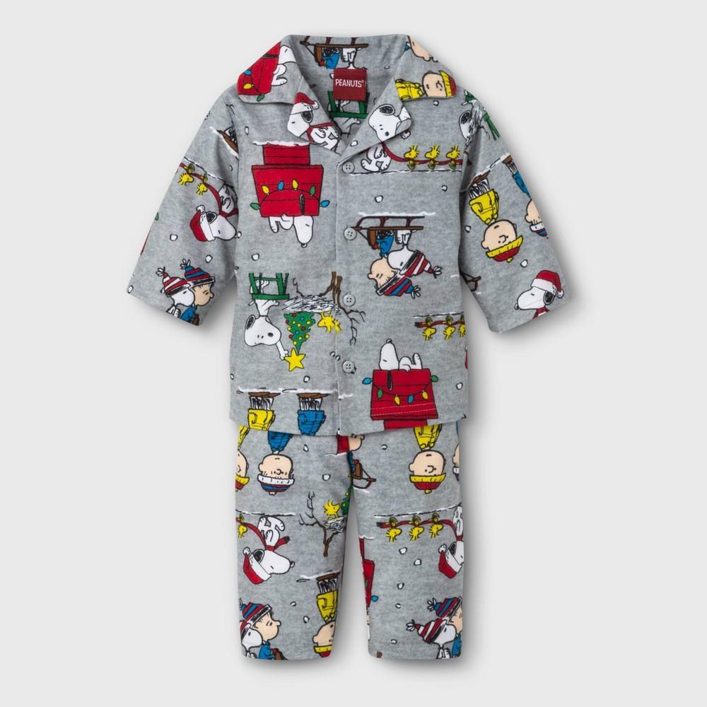 Image of Baby Peanuts Holiday Pajama Set - Gray 3-6M, Kids Unisex