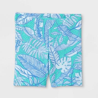 Toddler Girls' Tropical Floral Bike Shorts - Cat & Jack™ Mint Green