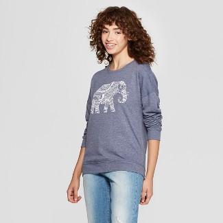 Women's Elephant Graphic Pullover Sweatshirt - Zoe+Liv (Juniors') Blue M