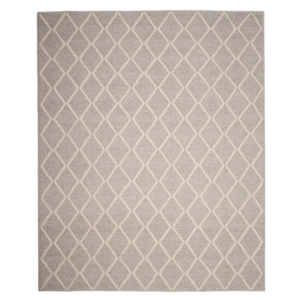 8'X10' Diamond Woven Area Rug Silver/Ivory - Safavieh