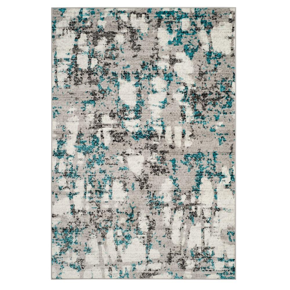 Gray/Blue Splatter Loomed Area Rug 5'1