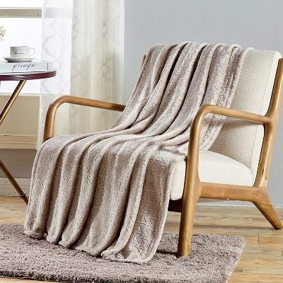 Sabina Embossed Geometric Pattern Soft Flannel Throw Blanket - 50 x 60