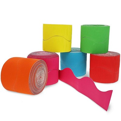 6-Rolls 2 inch Bulletin Board Scalloped Border Decoration for Classroom, 6 Colors, 25 Feet Each