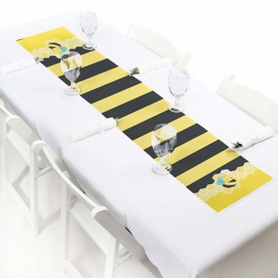 Big Dot of Happiness Honey Bee - Petite Baby Shower or Birthday Party Paper Table Runner - 12 x 60 inches