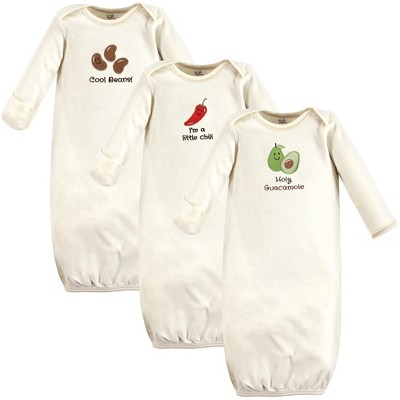 Touched by Nature Baby Organic Cotton Long-Sleeve Gowns 3pk, Guacamole