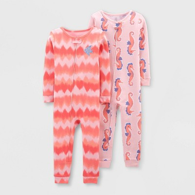 Toddler Girls' 2pk Footless Tie-Dye Seahorse Pajama Jumpsuit - Just One You® made by carter's Pink