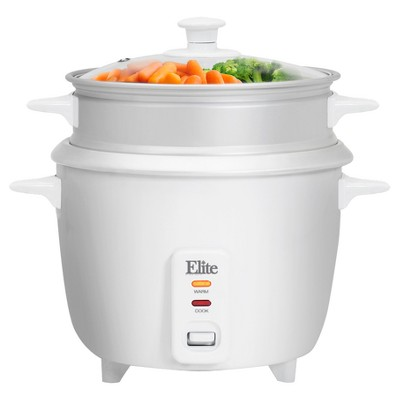 Elite Gourmet 16-Cup Rice Cooker with Steam Tray in White