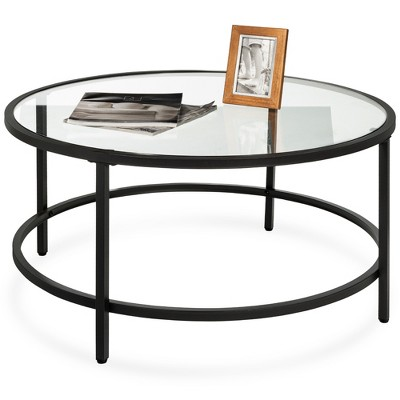 Best Choice Products 36in Round Tempered Glass Coffee Table for Home, Living Room, Dining Room
