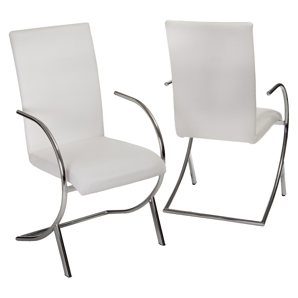 Christopher Knight Home Lydia Leather & Chrome Dining Chair - White (Set of 2)