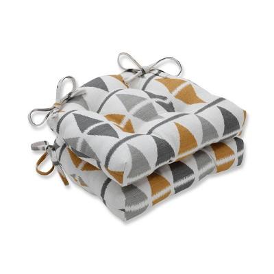 Set of 2 Indoor Ikat Argyle Birch Reversible Chair Pad Gray - Pillow Perfect