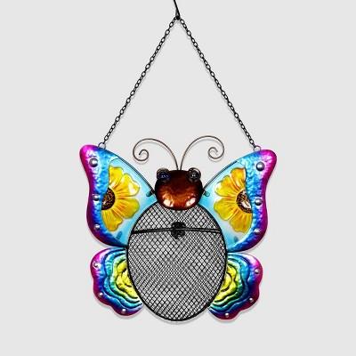 """20"""" Resin Butterfly Pellet Bird Feeder Basket - Exhart"""