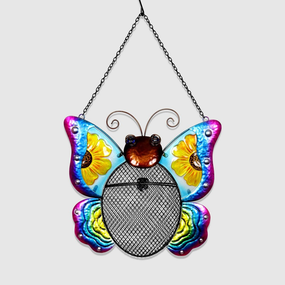 "Image of ""20"""" Resin Butterfly Pellet Bird Feeder Basket - Exhart"""