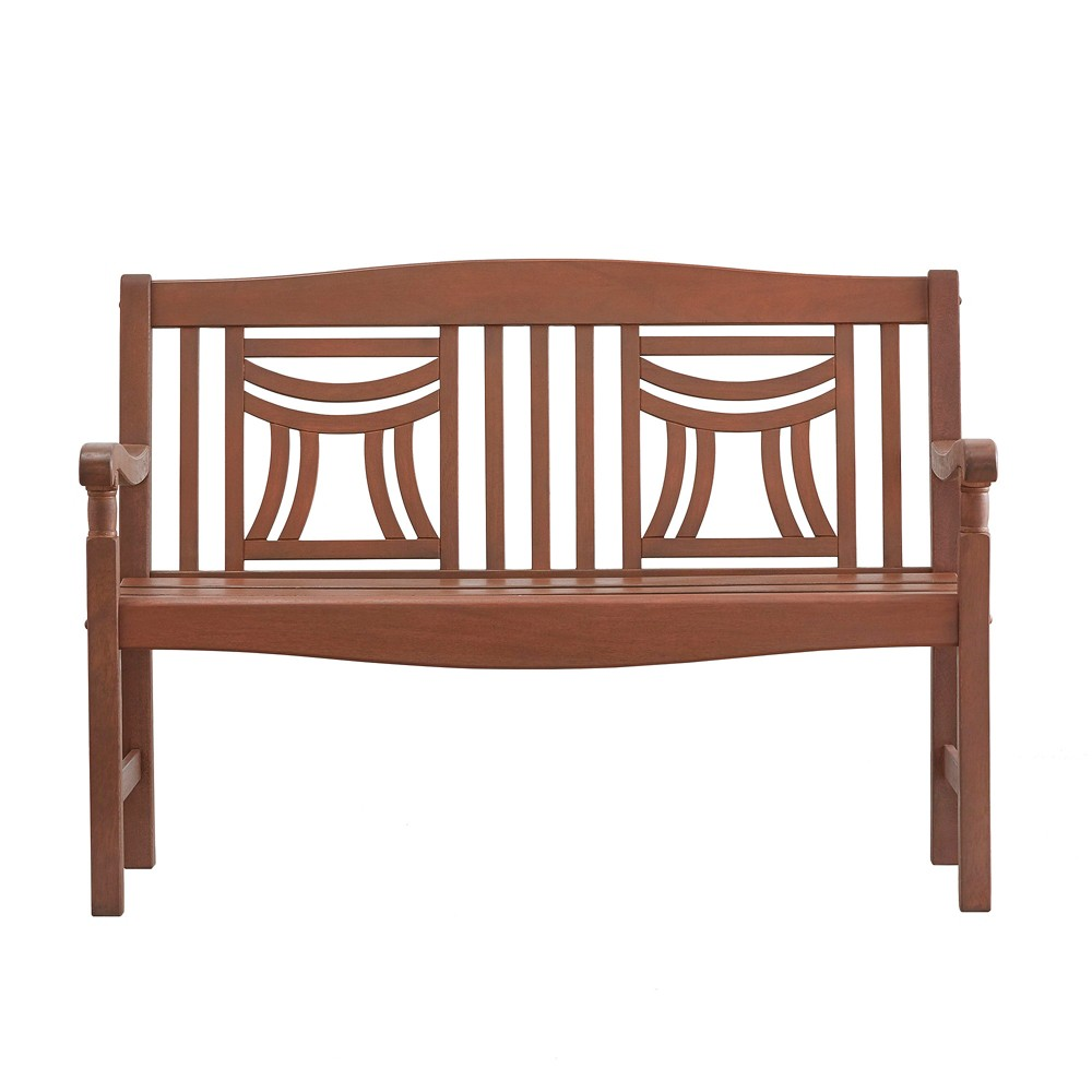 Parkview Wood Patio Decorative Back Garden Bench - Brown Oiled - Inspire Q