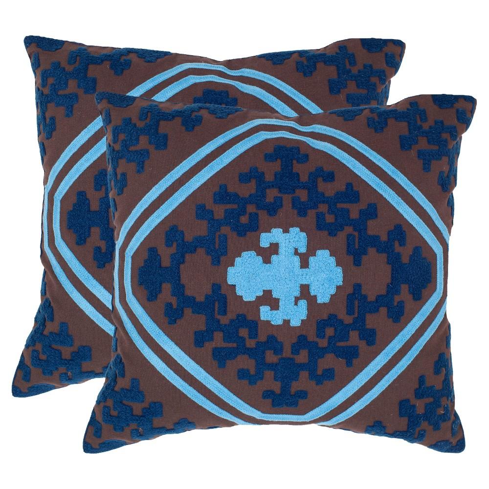 Best Online Chocolate Indigo Throw Pillow Set 20x20 Safavieh Brown Blue