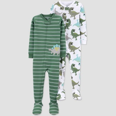 Toddler Boys' 2pk Dino Footed Pajama - Just One You® made by carter's Green