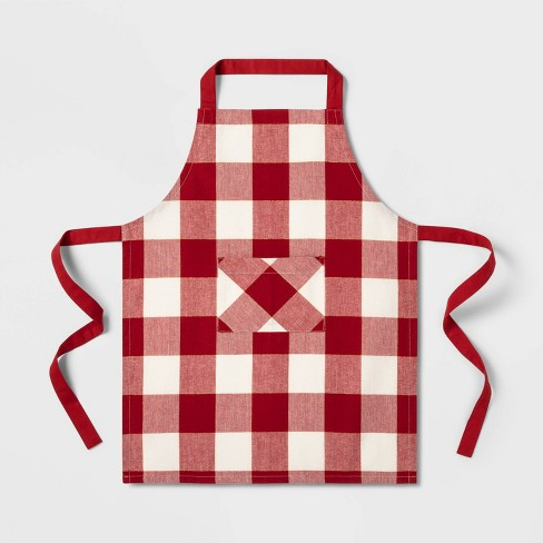 Child Check Apron Red - Threshold™ - image 1 of 2