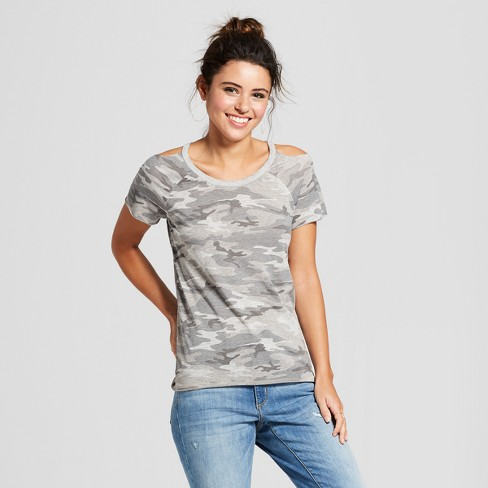 e27aef5adff909 Women s Camo Print Short Sleeve Cold Shoulder Burnout Wash T-Shirt -  Grayson Threads (Juniors ) Heather Gray