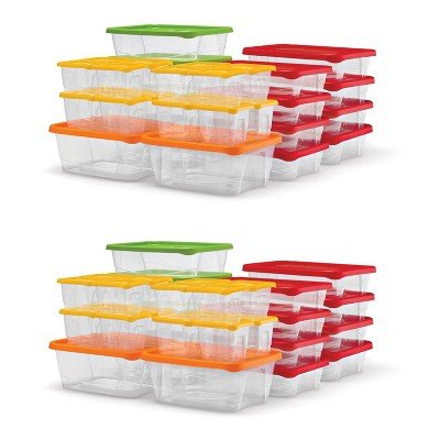 Plas Glas STP60 120 Piece Stackable BPA Free Plastic Food Storage Lunch Containers and Lids Set with 4 Sizes, Microwave and Dishwasher Safe