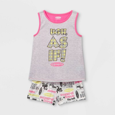 Girls' Clueless Ugh, As If! 2pc Pajama Set - Gray/Pink