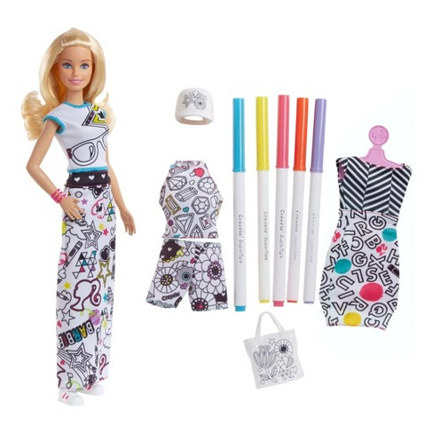 Barbie Crayola Color In Fashions Doll Target