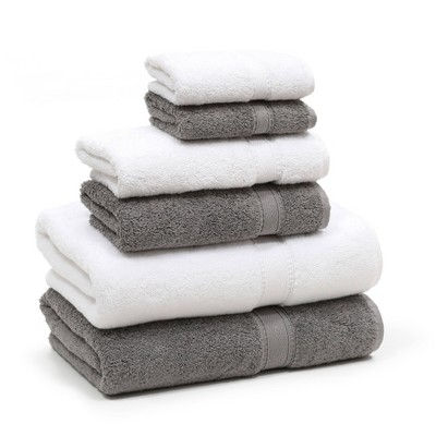6pc Sinemis Turkish Bath Towel Set Dark Gray/White - Linum Home Textiles