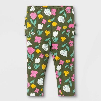 Baby Girls' Floral Ruffle Bum Leggings - Cat & Jack™ Olive Green