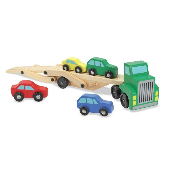 Melissa & Doug Car Carrier Truck and Cars Wooden Toy Set With 1 Truck and 4 Cars image number null