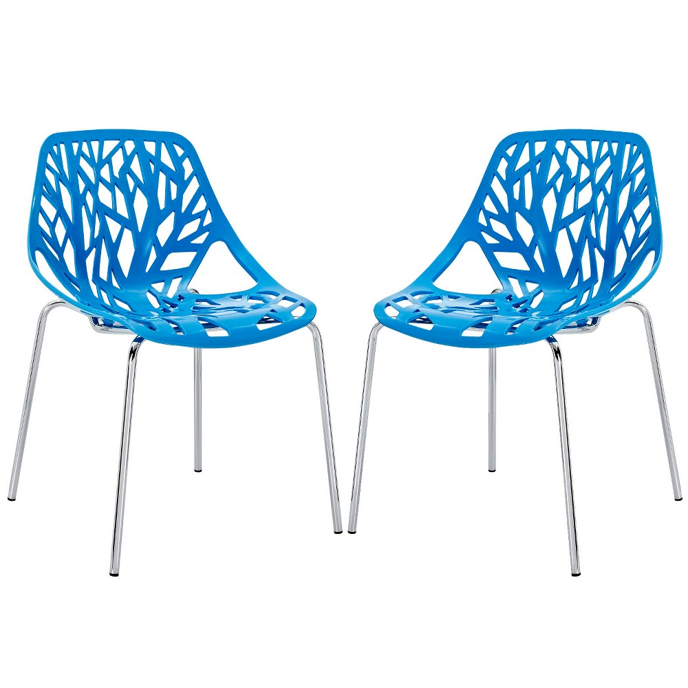 Stencil Dining Side Chair Set of 2 Blue - Modway