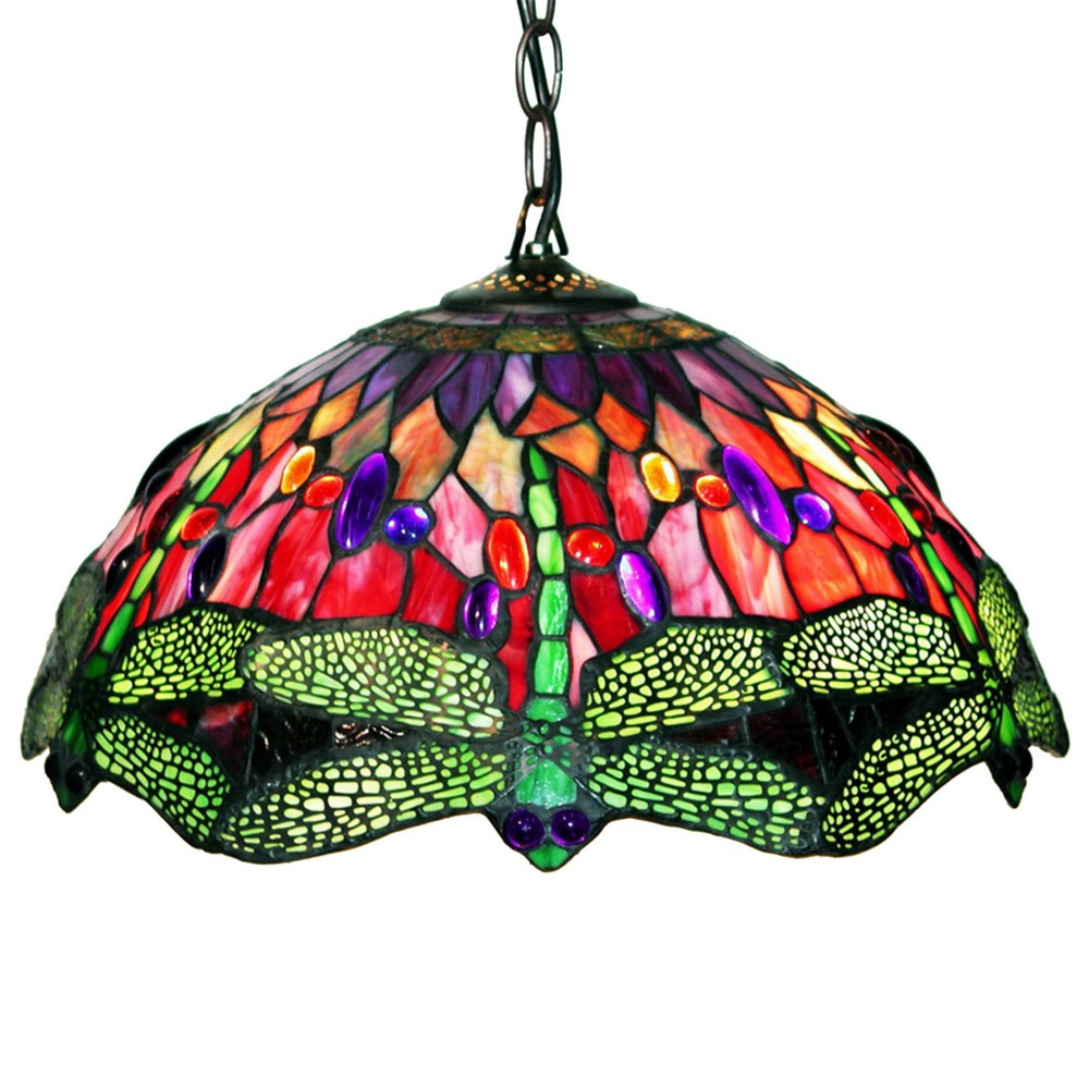 "Image of ""16"""" x 16"""" x 27"""" Tiffany Style Dragonfly Hanging Lamp Red/Green - Warehouse of Tiffany"""