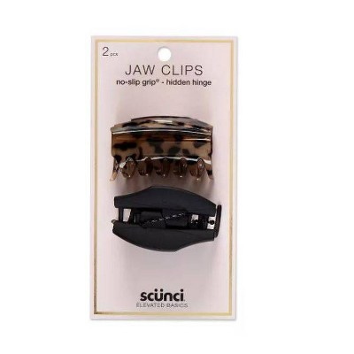 scunci 6cm Covered Hinge No Slip Jaw Clips - 2pk