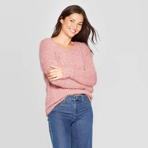 Women's Long Sleeve V-Neck Pullover Sweater With Back Detail - Knox Rose™ - image 1 of 2