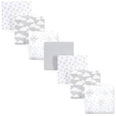 Hudson Baby Unisex Baby Cotton Flannel Receiving Blankets Bundle - Gray Clouds One Size