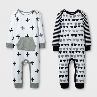 Baby 2pk Coverall Set Cloud Island™ - Black/White 3-6M