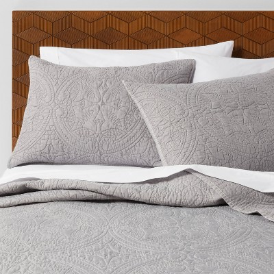 King Medallion Stitch Quilt Gray - Opalhouse™
