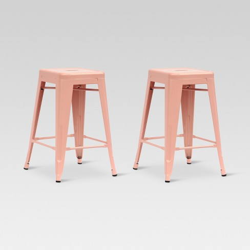Carlisle 24 Quot Metal Counter Stool Dusty Pink Set Of 2