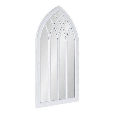 "24"" x 48"" Winn Wood Framed Arch Decorative Wall Mirror White - Kate & Laurel All Things Decor"